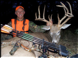 Ted Jaycox of Tall Tine Outfitters with his Kansas Trophy whitetail